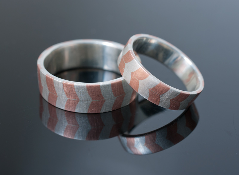 Silver and Copper Chevron Inlay Bands