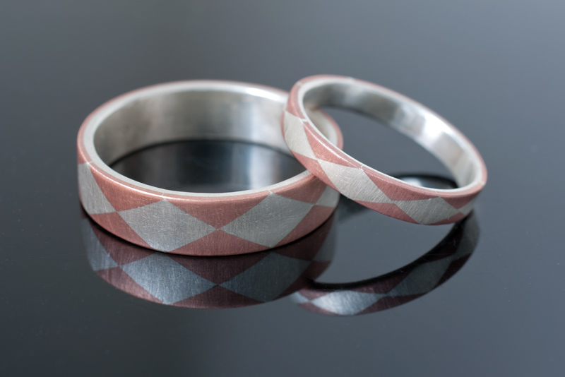 Silver and Copper Harlequin Inlay Bands