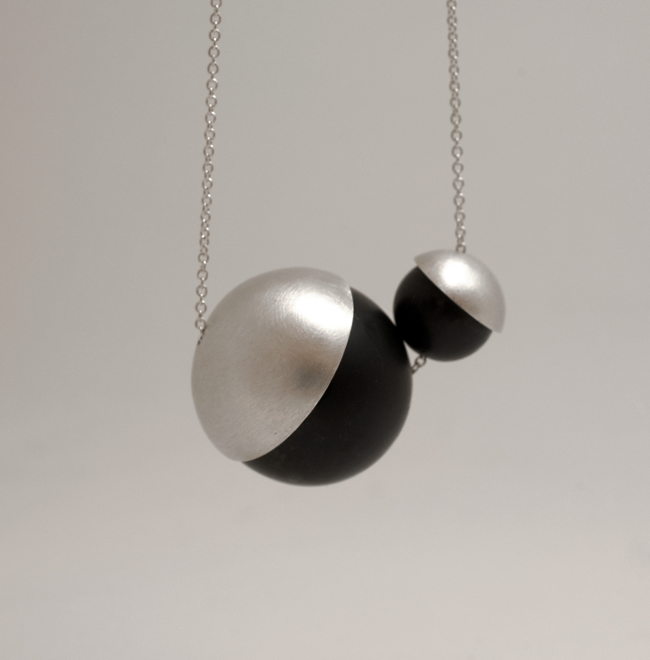 Onyx and Silver Penumbra Necklace