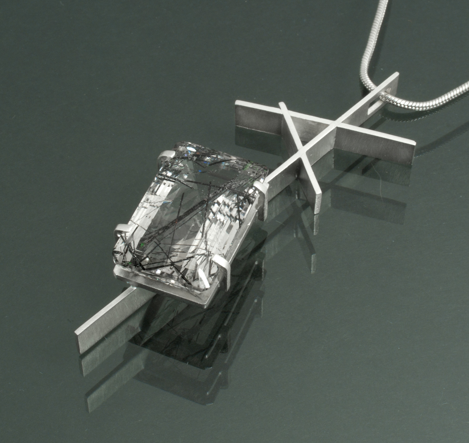 Silver Construction with Tourmalinated Quartz Pendant