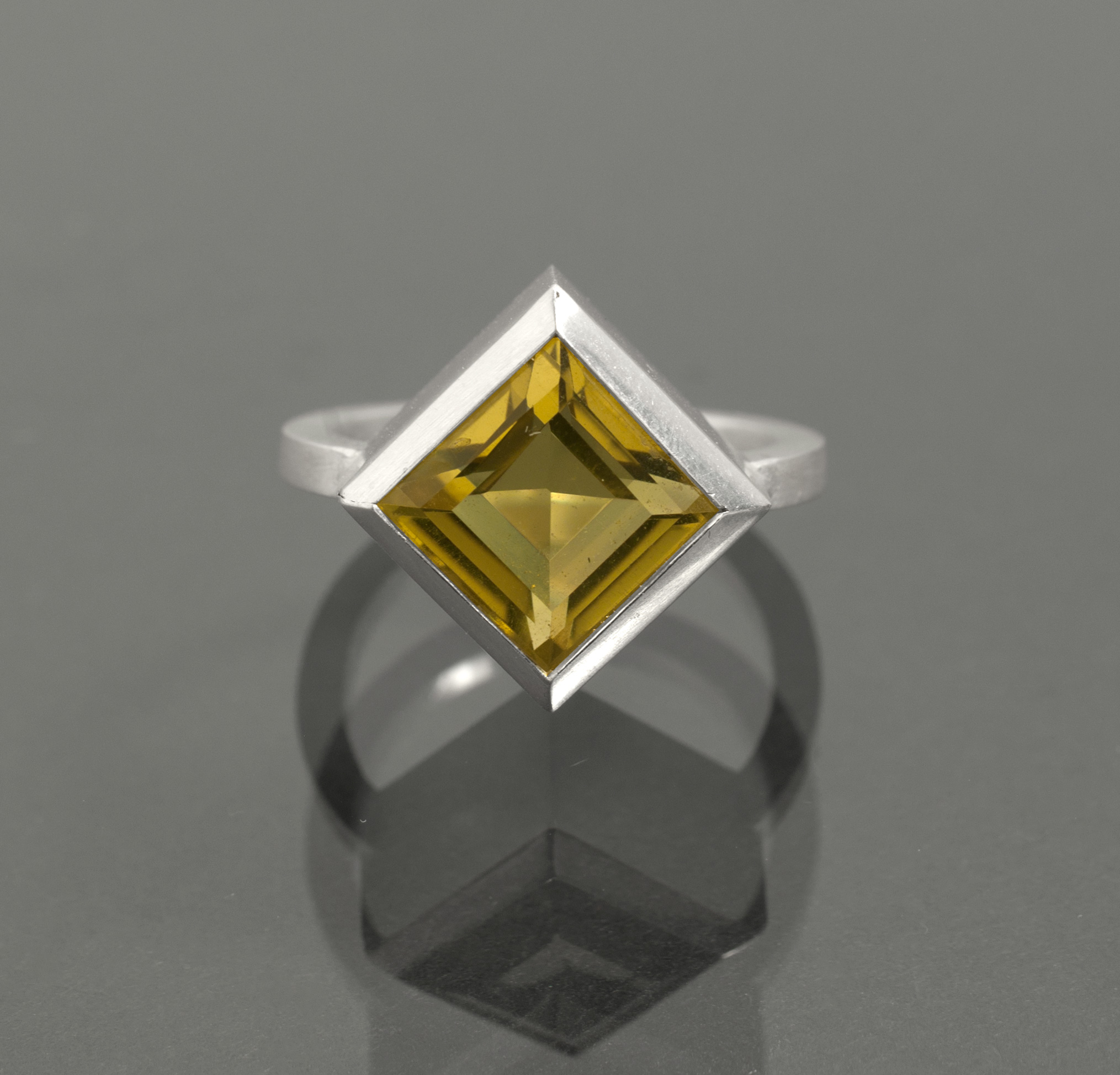 Square Yellow Citrine in Geometric Ring
