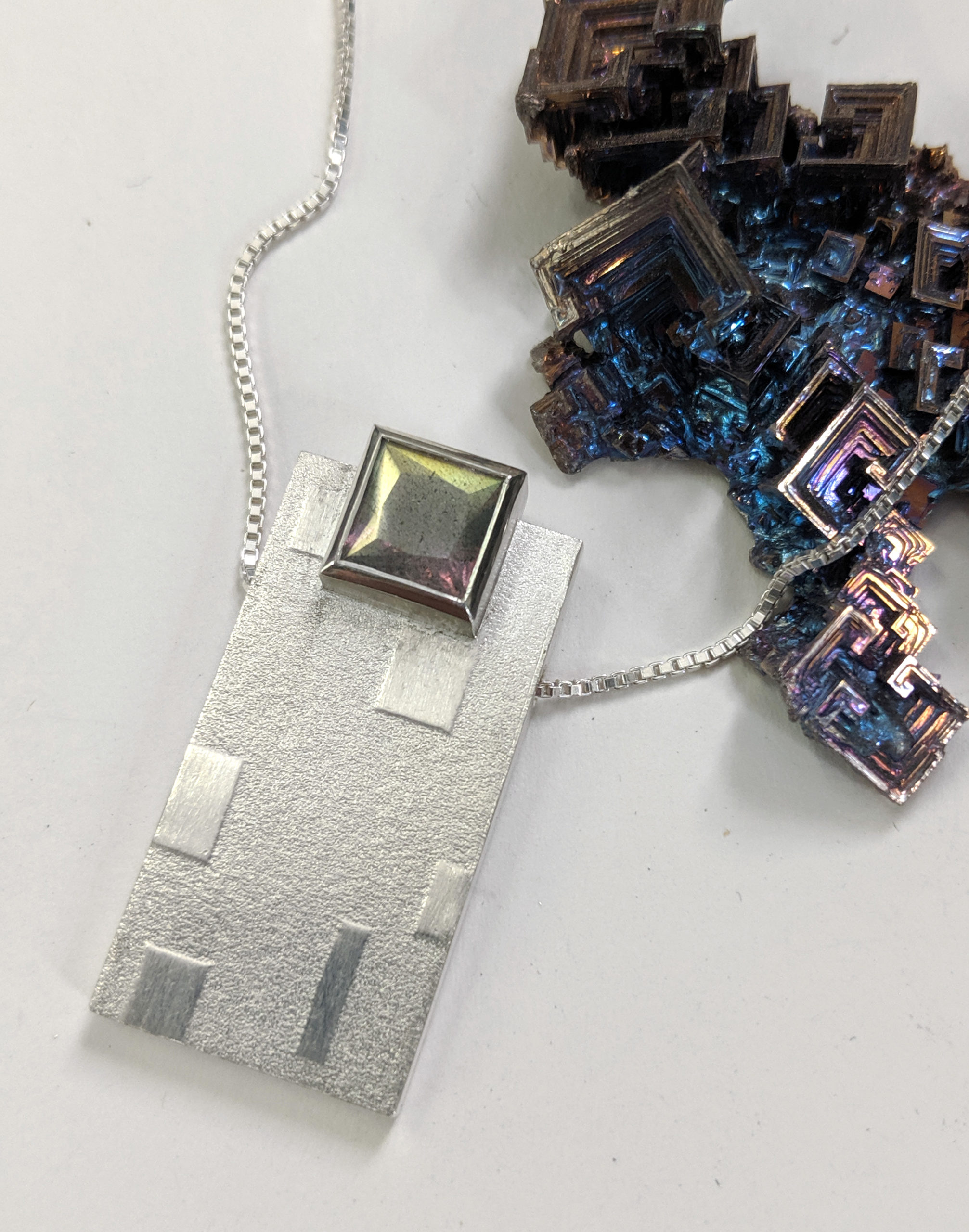 India Moonstone Imprinted Squares Pendant