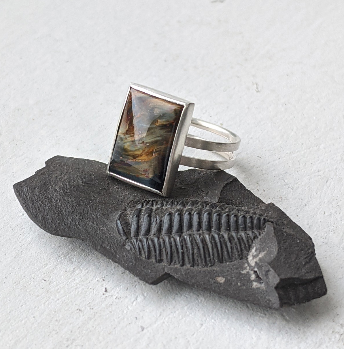 Double silver shank ring with Rectangular Blue-Gold Pietersite